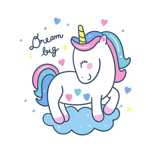Cute Unicorn vector stands on a cloud