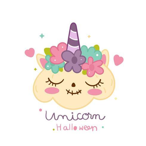 Ilustración de Halloween calabaza unicornio