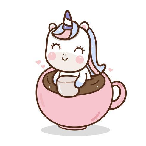 Vector lindo unicornio en taza de café