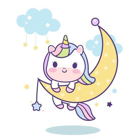 Kawaii Unicorn vettoriale sulla luna