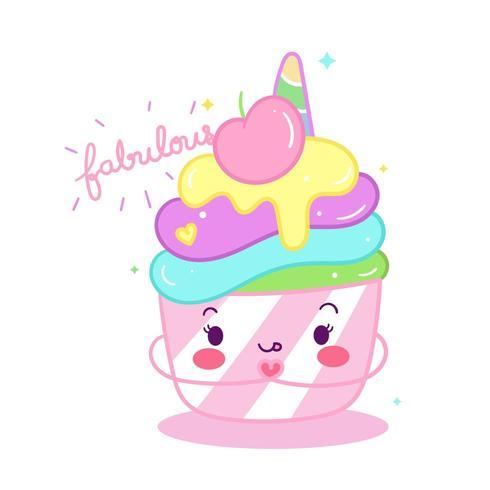 Desenho de unicórnio fofo cupcake