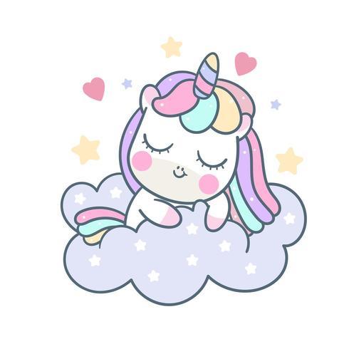 Cute unicorn cartoon sleeping on cloud