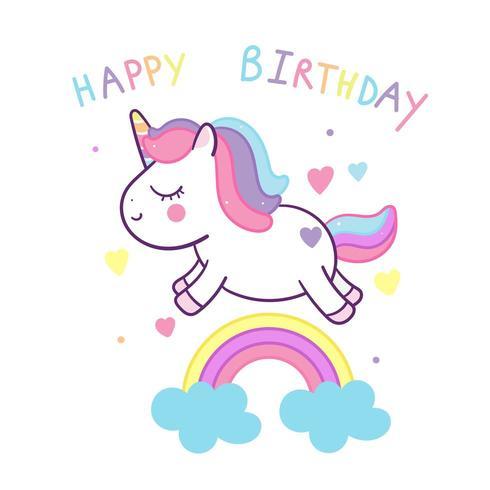 Decoración linda del cumpleaños del unicornio y del arco iris
