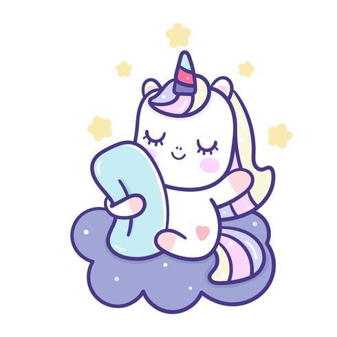 Dibujos animados de unicornio en la nube