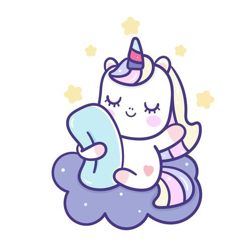 Unicorn cartoon on cloud