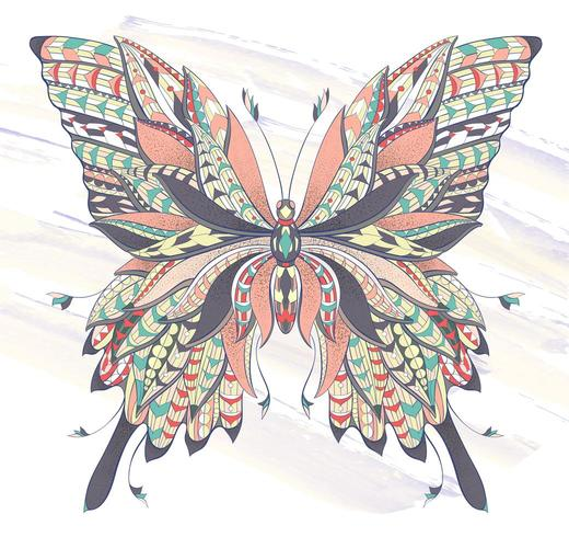 Patterned butterfly on grunge brush stroke background vector