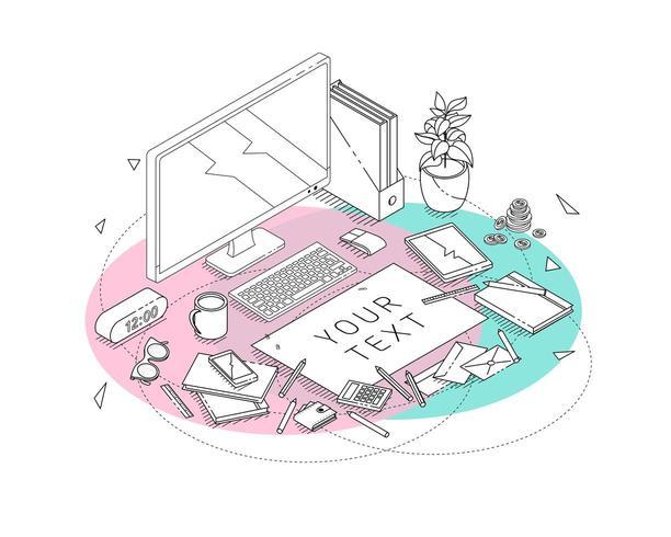 Concetto isometrico del posto di lavoro con computer e attrezzature per ufficio. vettore
