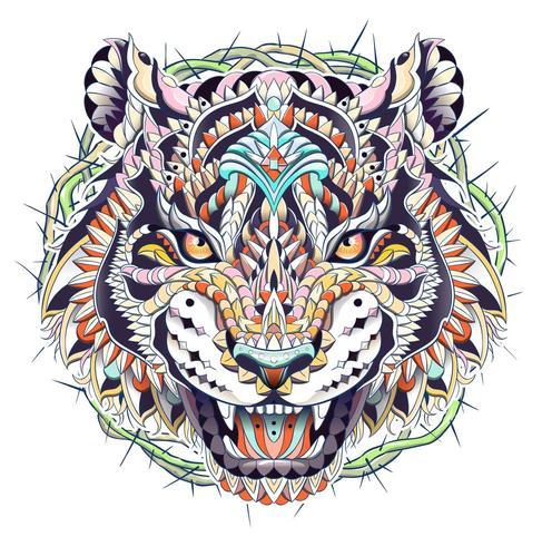 Cabeza estampada de tigre rugiente con círculo de espinas