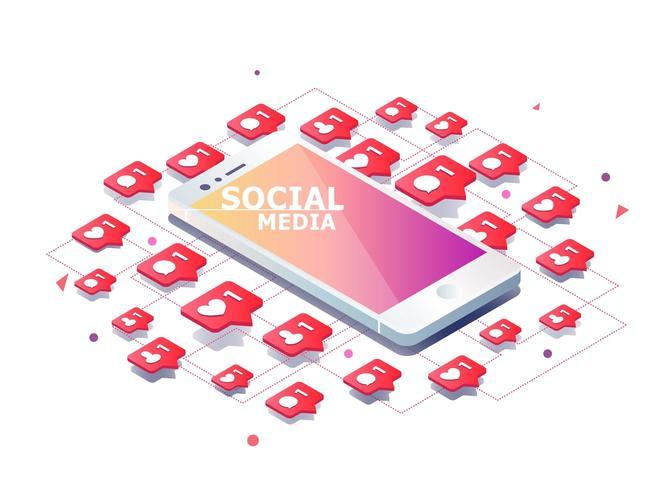 Mobiltelefon med likes, nya kommentarer, meddelanden och följareikoner