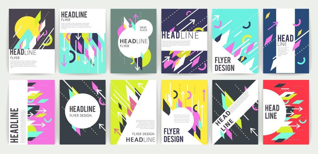 Conjunto de volantes coloridos abstractos geométricos