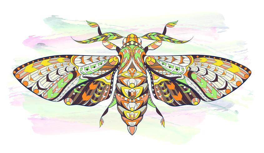 Polilla o mariposa estampada sobre fondo grunge
