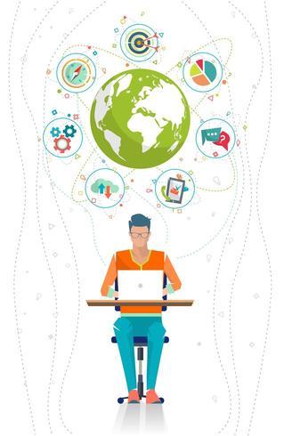 Mansammanträde vid skrivbordet som arbetar på bärbara datorn med jordklotet som omges av ikoner