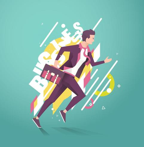 Running businessman with word Business behind him