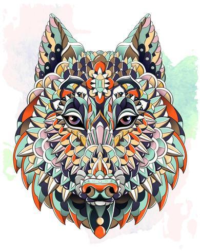 Tête de loup ou de chien à motifs sur fond grunge