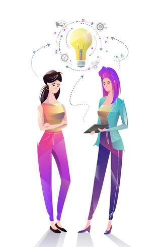 Duas mulheres de escritório compartilhando idéias