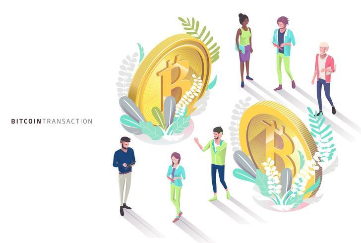 Isometriska människor och bitcoins omgiven av blad