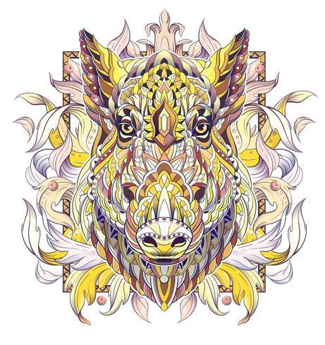 Golden patterned head of boar or pig vector