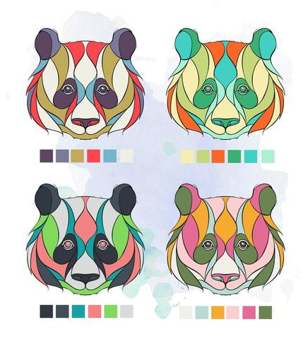 Set of patterned colored panda heads