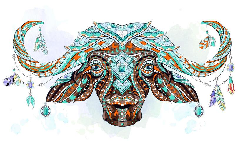 Patterned head of buffalo on watercolor background