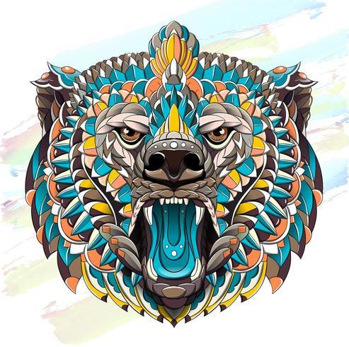 Patterned head of roaring bear on brush stroke background