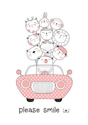 Animales lindos bebé con coche vector