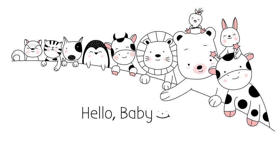 Decoración linda de animales bebé vector
