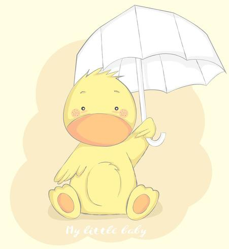 joli bébé canard avec parapluie