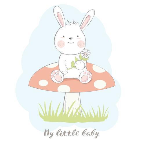 mignon bébé lapin aux champignons vecteur