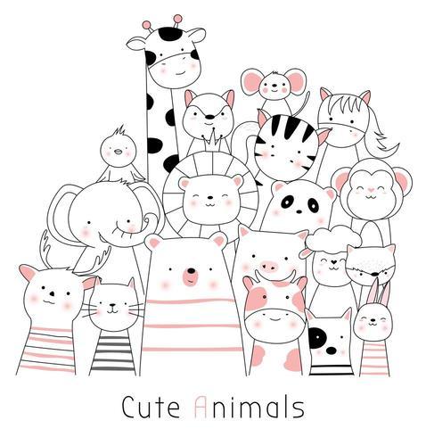 Animales lindos del bebé Imagen lista vector