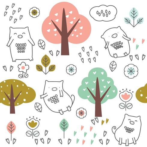 cute baby pig and trees cartoon - seamless pattern vector