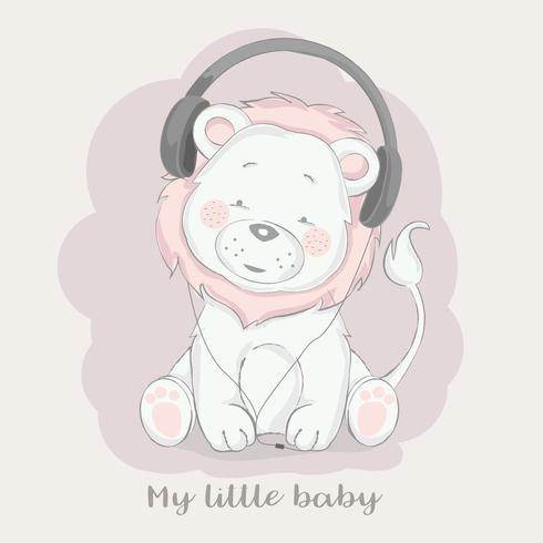 mignon bébé lion écoutant de la musique
