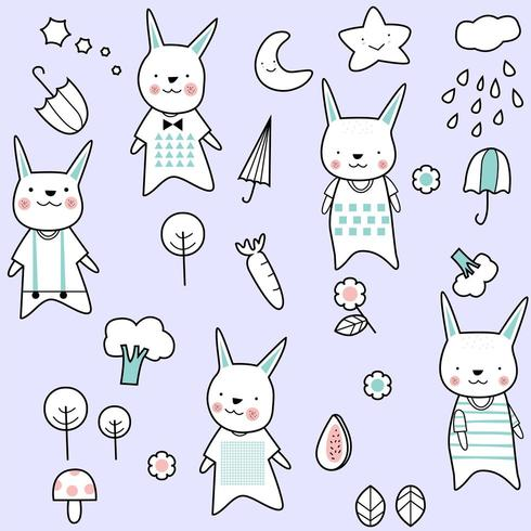 cute baby rabbit cartoon - seamless pattern