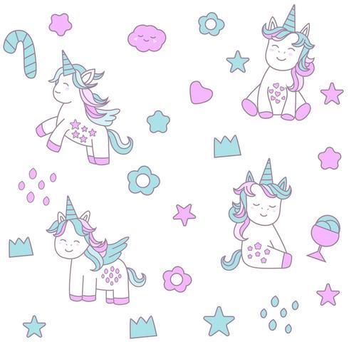 Baby unicorn cartoon - seamless pattern