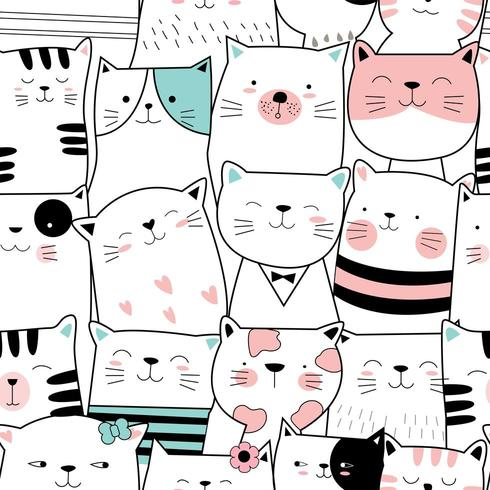 cute baby cat cartoon - seamless pattern