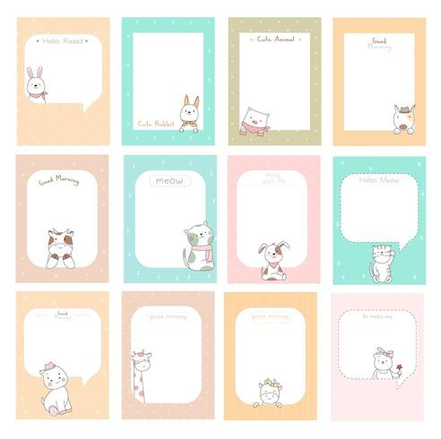 cute notes with baby animals  vector