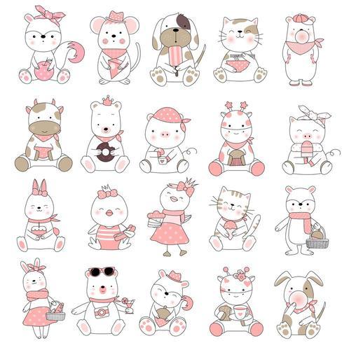 Schattige baby dieren cartoon hand getekende stijl eten