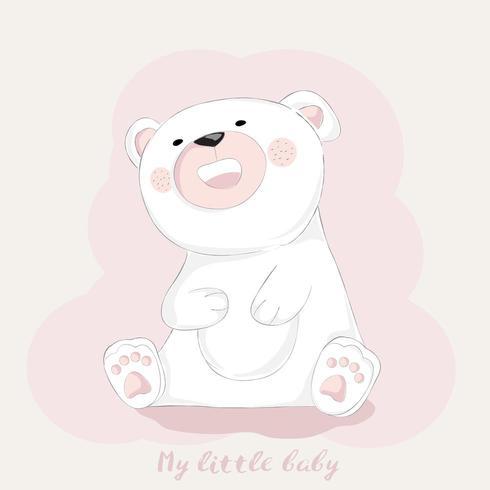 lindo oso bebé caricatura frotando el vientre