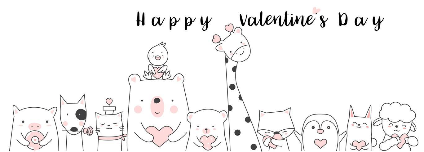 San Valentino con simpatico animaletto vettore
