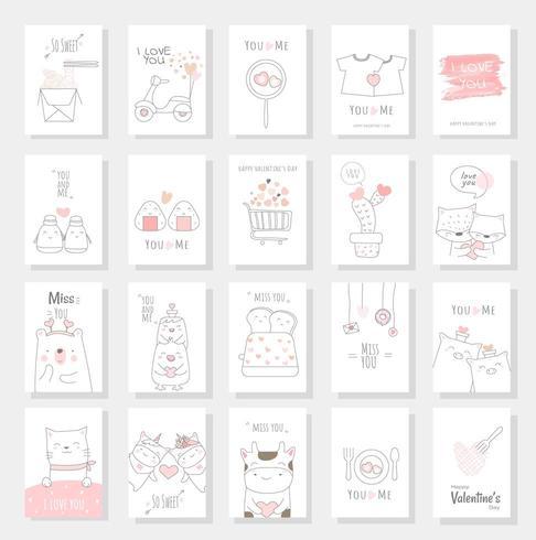 Alla hjärtans dagkortuppsättning med handritad stil