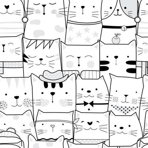 Caricature de chat bébé noir et blanc - modèle sans couture