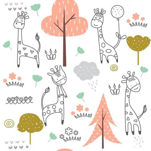 Bebé jirafa de dibujos animados - patrón sin costuras