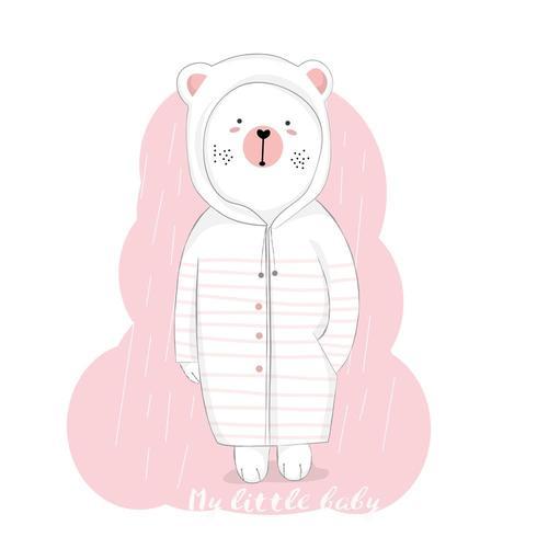 lindo oso bebé bajo la lluvia
