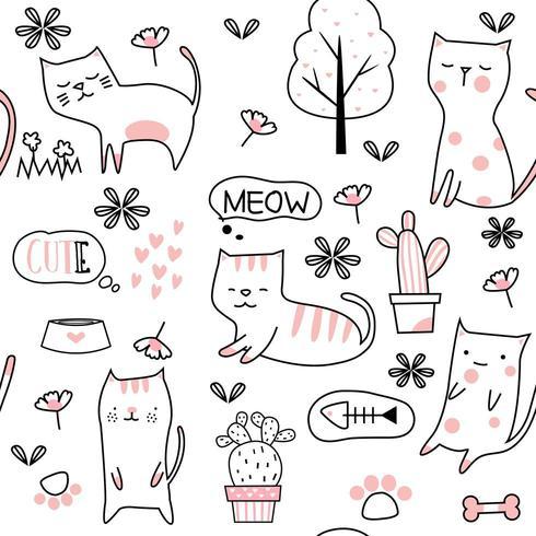 Cactus en baby kat cartoon - naadloos patroon