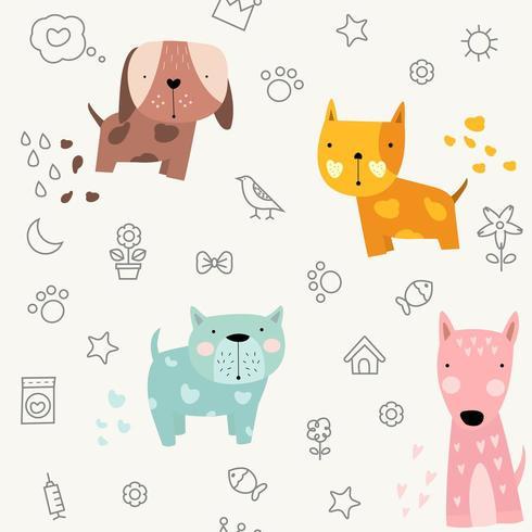 cute baby dog cartoon - seamless pattern vector