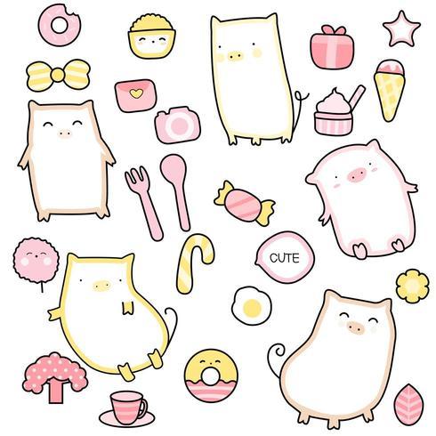 cute baby pig cartoon - seamless pattern