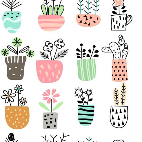 vase avec jeu d'icônes de fleurs vecteur