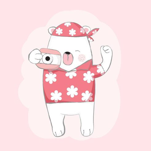 cute baby bear with camera cartoon