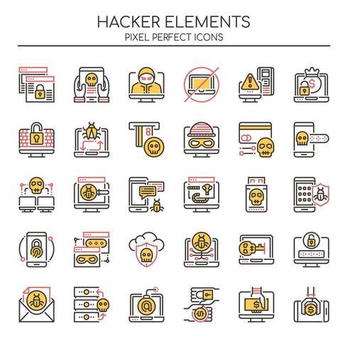 Ensemble d'éléments de hacker ligne mince Duotone vecteur