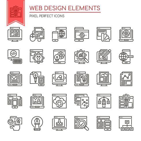 Conjunto de elementos de diseño web de línea delgada en blanco y negro