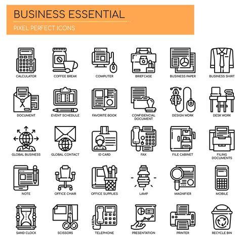 Ensemble d'icônes Essentials Business Thin Line noir et blanc vecteur
